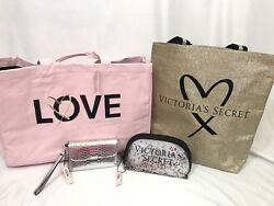 Victoria's Secret Lot of 4 Bags Totes Wallet Makeup New NWT Gold Pink Glitter