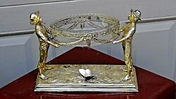 Antique French Figural Gilt Silver Plated 2 Men Hoding A Central Piece Bowl