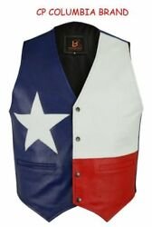 New Texas Flag Color Leather Vests 2020 Stock All Sizes Hi Quality Cp Brand