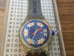 Ultra Rare - 1992 Metal Flash Sony Branded Swatch Stop Watch - Ssk104 - New -