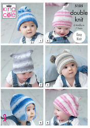 Baby Double Knitting Pattern Easy Knit Hats Helmet And Beret King Cole 5105