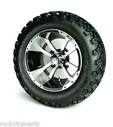 Set Of 4 - 12 Inch Storm Trooper Machined Golf Cart Wheels On 22 Inch A/t Tires
