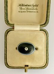 A Magnificent Banded Agate And Old Cut Diamond Ring Circa 1800's