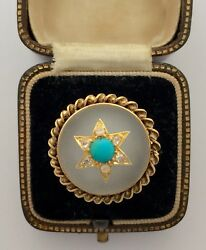 A Stunning Rock Crystal, Turquoise And Old Cut Diamond Ring Circa 1800's