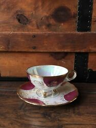 Japanese Royal Sealy Opalescent Pink White And Gold China Tea Cup And Saucer