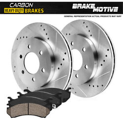 Front Drill Slot Brake Rotors + Carbon Ceramic Pads For Cadillac Chevy Gmc 4wd