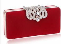 Ladies Clutch Evening Bag With Rhinestone Clasp and Shoulder Strap