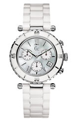 Guess Gc I43001m1 Diver Chic Watch - Stainless Steel Casing And Ceramic Band White