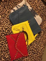Lot of 4 Evening Casual Colorful Clutches Handbags Blue Red Yellow $20.00
