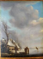 A. Schelfhout Style Dutch Masters Unsigned Oil Painting On Oak Panel Ice Skaters
