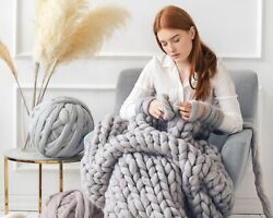 Chunky Knit Blanket 100 Merino Wool Chunky Knit Throw Arm Knitted Blanket