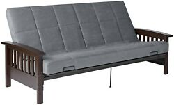 Mission Style Sofa Futon Sleeper Convertible Couch Full Size Bed Wood Arm Gray