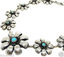 Taxco Mexican 925 Sterling Silver Turquoise Floral Flower Necklace Mexico