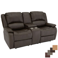 Recpro Charles 70 Chestnut Double Rv Wall Hugger Recliner Sofa With Console