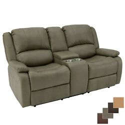 Recpro Charles 70 Putty Double Rv Wall Hugger Recliner Sofa Couch With Console
