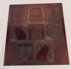 Vintage Etching Engraved Printing Machine Press Plate Stamp Large Combo 8 Red