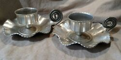Farber amp; Shlevin #1447 Pair Floral Aluminum Hand Wrought Candle Holders