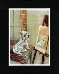 WESTIE TERRIER LOOKING AT HIS PAINTING VINTAGE STYLE DOG ART PRINT READY MATTED
