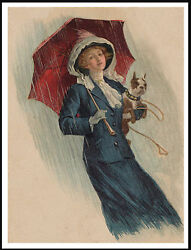 BOSTON TERRIER RAINY DAY LADY AND HER DOG LOVELY VINTAGE STYLE ART PRINT POSTER