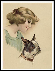 BOSTON TERRIER PRETTY LADY AND DOG CHARMING VINTAGE STYLE DOG ART PRINT POSTER