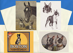 BOSTON TERRIER PACK OF 4 VINTAGE STYLE DOG PRINT GREETINGS NOTE CARDS #1