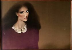 LADY WITH LACE COLLAR BY JOANNA ZJAWINSKA VERY LARGE OIL ON CANVAS W FRAME