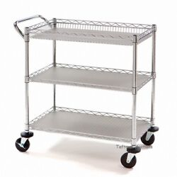 Seville Classics Commercial Utility Cart Wire Shelving 3 Tier 34 X 18 X 34.5