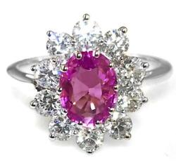 2.50ct Natural Pink Sapphire F Vs Diamond And 18ct White Gold Engagement Ring