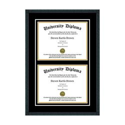 New Double Diploma Frame With Double Matting Assorted Moldings School Colors Uv
