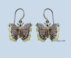 Mourning Cloak Butterfly Cloisonne Earrings Sterling Silver Bamboo Jewelry - Box