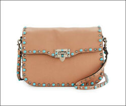 $3.8k NWT Valentino Rolling Turquoise Rockstud Bag Beige Leather Crossbody RARE!