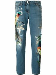 Nwt Roberto Cavalli Sequin Studded Embellished Bird Distressed Jeans It40 5495