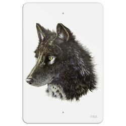 Wild Black Wolf Head Home Business Office Sign
