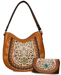 Montana West® Rhinestone & Embroidery Concealed Carry Hobo + Wallet- Brown