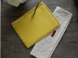 $1675 New Valentino large Rockstud oversized leather Clutch Bag wristlet Yellow