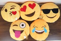 5 Emoji Emoticon Round Yellow Pillows Face Expressions Smile Smirk Cute 12quot; New
