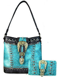 New! Montana West Concealed Carry Patina Buckle Hobo + Wallet - Turquoise
