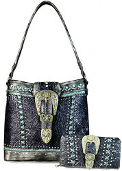 New! Montana West Concealed Carry Patina Buckle Hobo + Wallet - Black