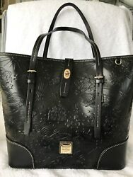 Disney Parks NEW Black Leather Sketch Tote by Dooney and Bourke
