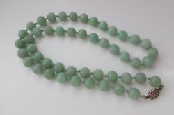 Antique Art Deco Chinese Sterling Silver Clasp Hand Carved Each Large Bead Jade