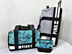 3PC Victoria Secret Pink WHEELIE SUITCASE LUGGAGE SET CARRY ON DUFFLE MAKEUP BAG
