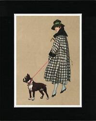 LADY WITH HER BOSTON TERRIER VINTAGE STYLE DOG ART PRINT READY MATTED