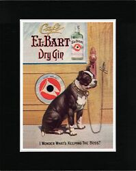 BOSTON TERRIER ON VINTAGE STYLE GIN ADVERT DOG ART PRINT READY MATTED