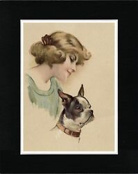 PRETTY LADY AND BOSTON TERRIER LOVELY VINTAGE STYLE DOG ART PRINT READY MATTED