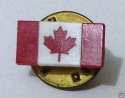 Vintage Canadian Souvenir Hat Tie Pin Badge Canada Flag Maple Leaf Red And White