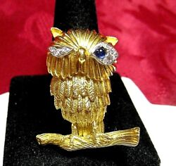 Rare Vintage 18k Yellow Gold Winking Owl Diamond And Sapphire Eyes Pin Brooch 20.3