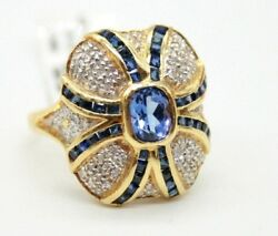 Vintage Ladies 18k Yellow Gold Cocktail Ring With Sapphire And Diamonds
