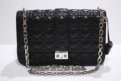 Authentic Christian Dior Quilted Cannage Miss Dior Lambskin Long Strap Large Bag