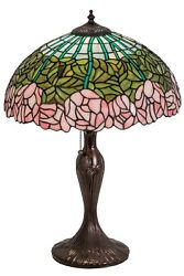 Meyda Lighting Style Stained Glass 23 Cabbage Rose Flower Table Lamp