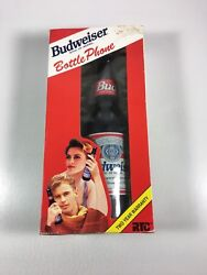 Vintage Official Budweiser Bottle Phone In Package-push Button-excellent